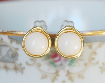 Ivory Stud Earrings ,  Synthetic Ivory Earrings , Bridesmaids Earrings , Wire Wrapped Studs
