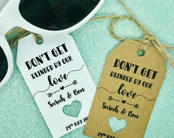 "Sunglasses Favour Gift Tags ""Thank you"" Rustic Label Kraft"