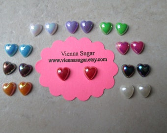 7 mm Heart Shaped Pearly Stud or Magnetic Earrings in blue, purple, white, yellow, or rainbow