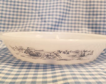 Currier and ives glasbake divided casserole dish the road winter J-2352