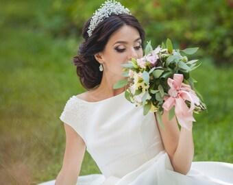 Bridal silver tiara hair Tiara wedding crystal crown Silver bridal crown Gold pearl tiara Hair silver tiara pearl Wedding silver tiara