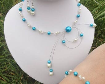 Blue turquoise ivory wedding bridal set necklace + bracelet + earrings Adele