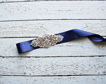 Bridal Belt, Navy Bridal Sash, Navy Bridesmaid Sash / Belt, Rose Gold Bridal Belt/ Sash, Burgundy Bridal Belt/ Maternity Sash / Belt
