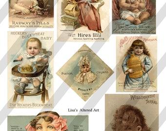 Digital Collage Sheet, Vintage Advertising Images, Junk Journal Ephemera, Individual PNG files  (Sheet no. O266) Ephemera-Instant Download