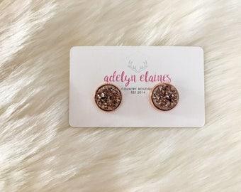 Rose Gold Druzy Earrings Studs 12 mm