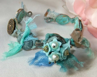 Vintage Buttons, Floral Bracelet, Hand dyed Ribbon, Pearl and Serpentine, Colors of the Sea, Pastels,OOAK, Summer,MockiDesigns, Gift Wrapped