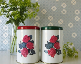 Two Vintage Red and Green Tins or Containers by Tomado with Rose Design