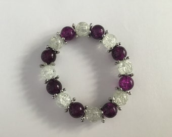 Purple and clear glass bracelet with silver spoke spacer beads, purple, clear and silver bracelet, glass bracelet, glass bead bracelet