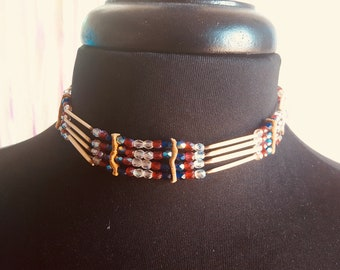 Vintage beaded leather choker necklace