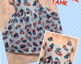 LIMITED * Thomas the Tank Engine * classic jumper style dress child CUSTOM SIZES 2 3 4 5 6 your choice sewnbyrachel