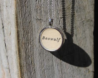 Beowulf Book Page Pendant Necklace - Literary Jewelry