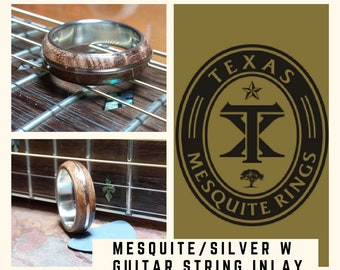 Men's Mesquite Burl/Sterling Silver W/ Guitar String Inlay