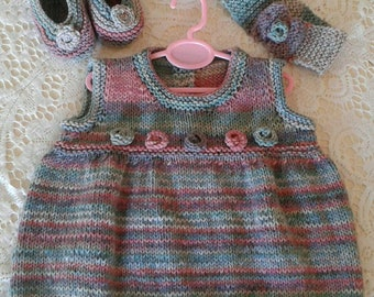 Hand Knitted Girl's Dress with matching Shoes and Headband