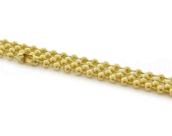 "100 Pk - 24"" Gold 3.2mm Ball Chain Necklaces - 24 Inch Sturdy Dog Tag Military Jewelry Necklace - Adjustable Length"