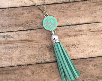 Turquoise Tassel Monogrammed Necklace