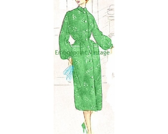 Plus Size (or any size) Vintage 1949 Dress Sewing Pattern - PDF - Pattern No 91 Ernestine 1940s 40s 1950s 50s