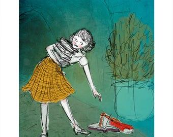 Still Not Enough Books // 1950s Bookworm Illustration