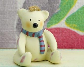 Cute hanging teddy bear Christmas ornament, by Bonnie Lynn.