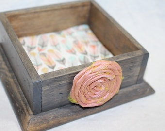 Business Card Holder, Jewelry Box, Barnwood, Small Wooden Box, Rustic Box, Ring Box, Peach and Mint,Feathers, Tribal, Bohemian, Custom color