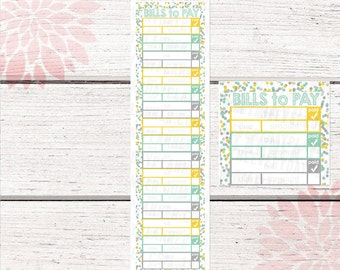 Monthly Bill Tracker Stickers | Spring Rain Color Palette | LB136