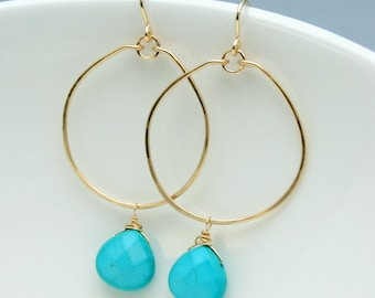 Gold Filled Hoops with Faceted Turquoise Briollette