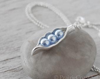 Three Pea Pod Necklace - Blue Pearl Pea Pod - Silver Pea Pod Mother's Necklace - Mom's Pearl Peas in a Pod Pendant - Push Gift - Three Peas