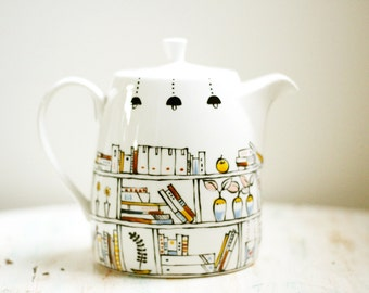 Hand painted teapot  -  Book A Holic  -  fine china