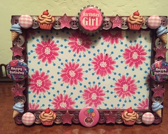 Birthday Girl Button picture Frame