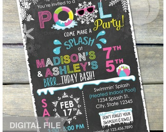 """Joint Pink Winter Pool Birthday Party Chalkboard Invitation Snow Indoor Pool Party - Girls Sisters - DIGITAL Printable Invite - 5"""" x 7"""""""