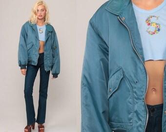 Bomber Jacket 70s Coat Moto Jacket Cafe Racer Jacket Retro Vintage Mens Plain Jacket 80s Hipster Large