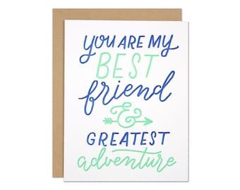 Best Friend Love Card / Anniversary Card / Romantic Card / Adventure Card / Blue and Mint Letterpress with Arrow