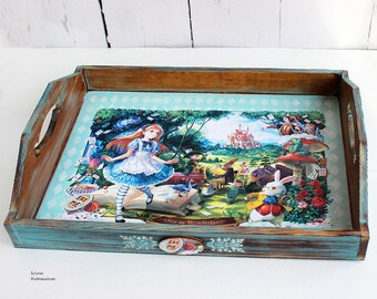 Wooden tray Alice in Wonderland, mad tea party, kitchen decor, turquoise color, vintage looking tray, anime