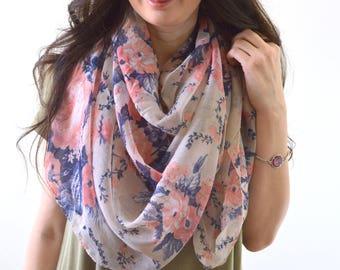 Rose Scarf, Flower Scarf, Woman Scarf, Floral Print Scarf, Gift for Her, Fashion Scarf, Woman Scarf Shawl