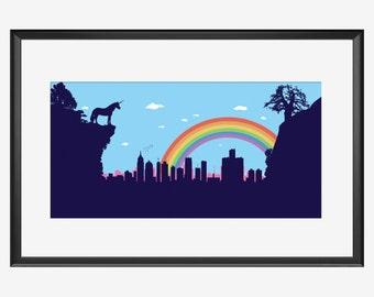 Detroit Skyline print, Detroit poster, Detroit print, Detroit art, Unicorn art, Unicorn print, Unicorn poster, Unicorn nursery, rainbow art