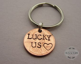Custom Lucky Us Penny Keychain, Lucky Penny, Anniversary Keychain, Boyfriend Gift, Husband Gift, Personalized Gift, Custom Keychain, Lucky