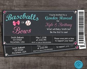 Baseballs or Bows - Ticket Style - Gender Reveal Invitation - Customizable - Digital File