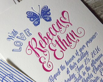 Celebrate! Letterpress Wedding Invitation Suite (SAMPLE)