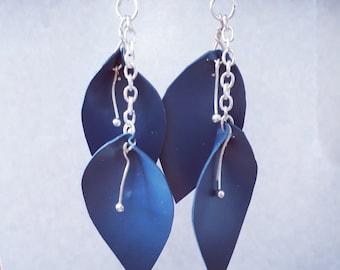 Dark Blue Leaf Earrings