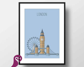 London Buildings Poster | United Kingdom | London Eye | Architecture | Wall Art | Wall Decor | Home Decor | Prints | Poster | Digital Paper