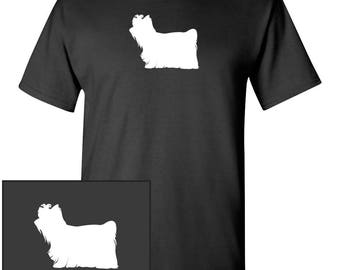 Yorkshire Terrier Dog Silhouette Custom T-Shirt - Men Women Youth Kids Long Sleeve Personalized Tee Yorkie