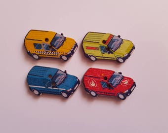 Set of 10 wooden truck buttons