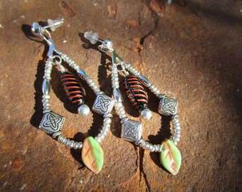 Loop Earrings~Jablonex Czech Pressed and Lampwork Glass~Wild Gypsy Spirit~Colorful Leaves~Post Earrings~Set #6