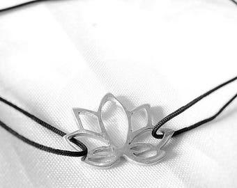 Silver lotus flower bracelet
