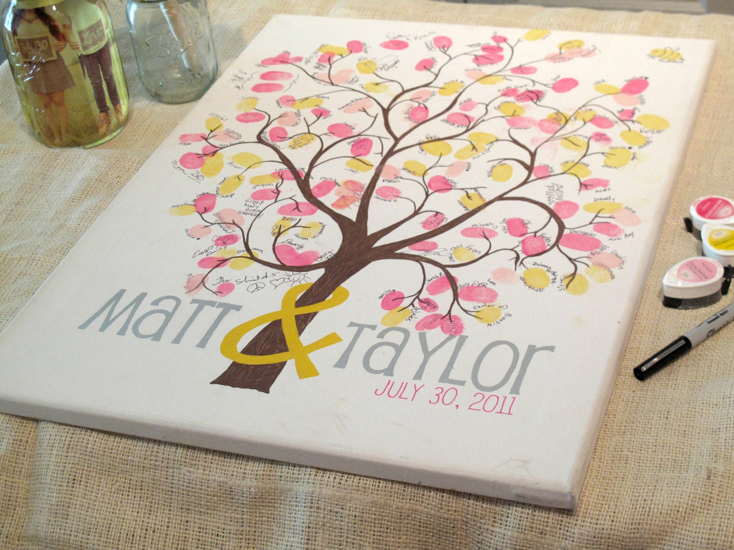 Top Canvas Guestbook Thumbprint Tree on Wrapped Canvas Wedding ZN31