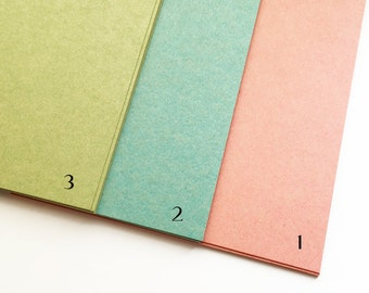 color textured paper | color paper card | vintage style paper stock | A5 sheet | 148mmX210mm | 0.22mm thick | 3 assorted colors | set of 9