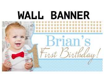 Twinkle Twinkle Little Star Banner, Personalized Party Banners, Photo First Birthday Boy Banner, The big ONE Banner, Printed Birthday Banner