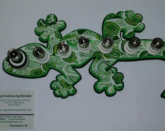 Lizard Gecko - Silhouette Menorah - Green and White spirals
