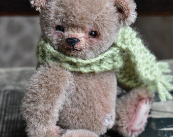 Hand made mini/miniature mohair artist teddy bear - 'George' - 4.25""