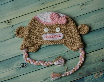 Crochet Girl's Sock Monkey Earflap Beanie 3M