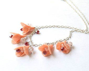 Flower necklace floral jewelry clay Lily Polymer clay Coral wedding Nature jewelry Floral Bridesmaid summer bead flower Bib necklace